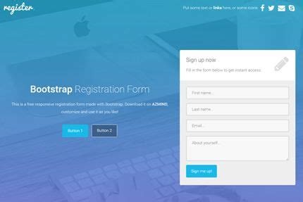 Bootstrap Registration Forms 3 Free Responsive Templates Design Registration Form Registration Web Page Template