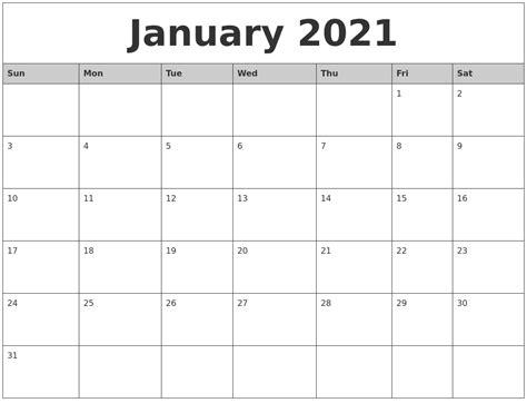 printable monthly calendar january january 2021 monthly calendar printable