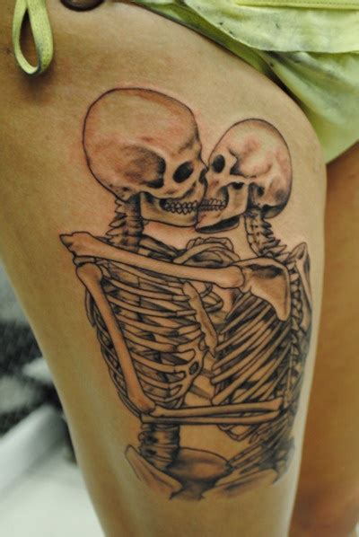 skull kissing tattoo 40 skeleton designs