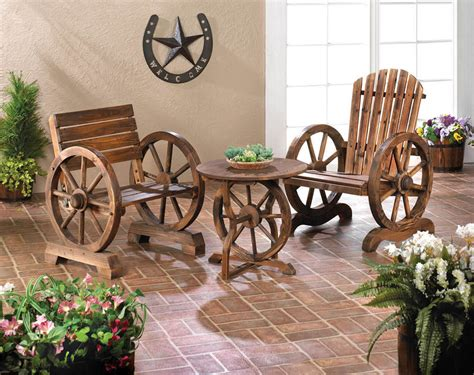 Out Door Patio Adirondack Wagon Wheel Loveseat Bench Chair Outdoor Furniture Ebay