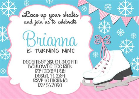 free printable birthday invitations ice skating ice skating snowflake birthday invitation 5x7 by