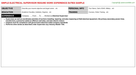 Work Experience Letter For Electrical Supervisor electrical supervisor resume sle