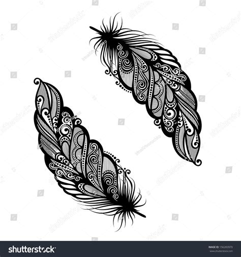 feather tattoo vector peerless decorative feather vector patterned design