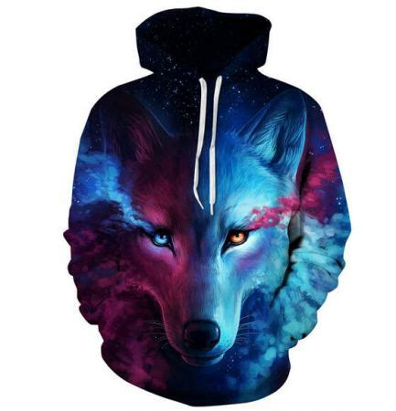 Hoddie 3d Wolf 3d galaxy wolf hoodie animal sweatshirt for big and plus size clothing
