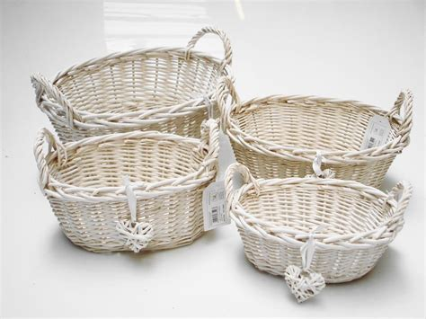 Wicker Basket Bathroom Storage Oval White Shabby Chic Wicker Kitchen Crafts Bathroom Storage Basket Ebay