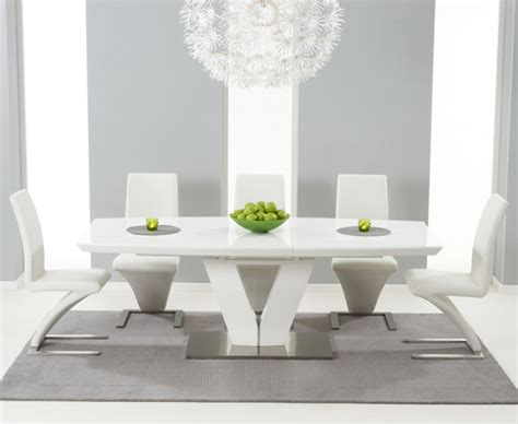 White Gloss Extending Dining Table And Chairs Malaga 180cm White High Gloss Extending Dining Table With