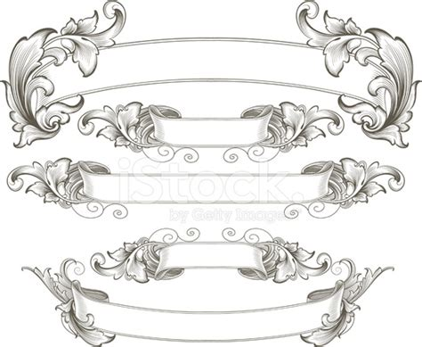 intricate engraved banners stock vector freeimages com