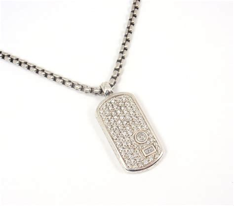 david yurman tag david yurman sterling silver pave tag pendant chain necklace 20 quot