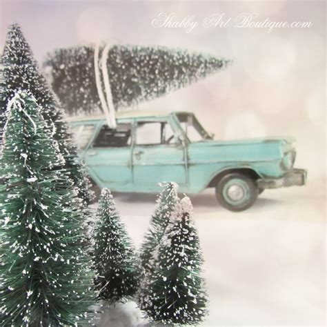 christmas trees on cars shabby art boutique