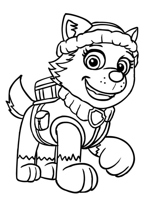 coloring page paw patrol everest everest from paw patrol free colouring pages