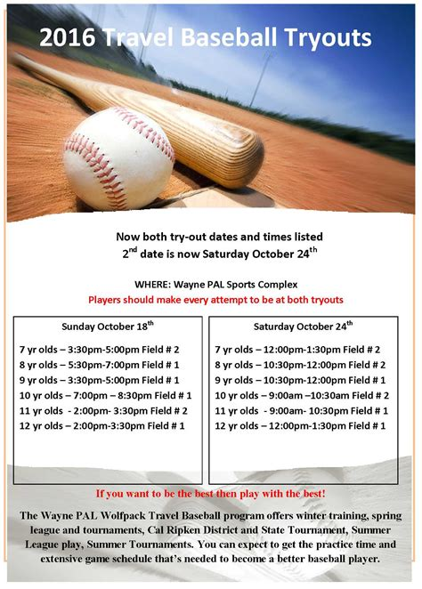 baseball flyer template 2016 travel baseball tryouts wayne pal