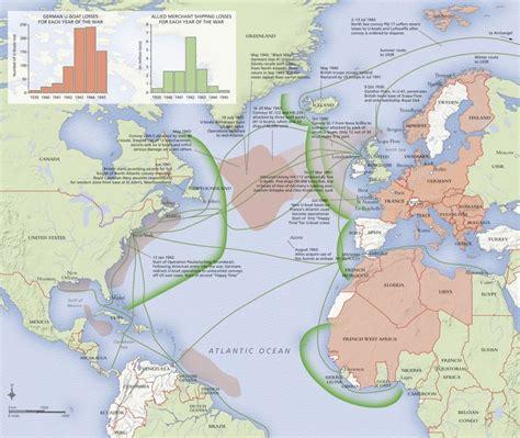 boat shipping map attention ww2 buffs map showing atlantic battles