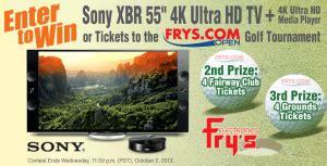 Frys Sweepstakes - fry s sony 4k ultra hd tv frys com open ticket giveaway fall 2013 sweepstakes win