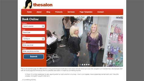 exles of hair websites hair salon affordable website design