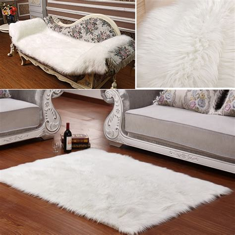 white fluffy couch long faux fur artificial skin rectangle fluffy chair seat