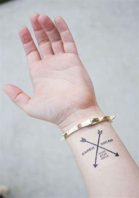 wedding date tattoos custom arrow wedding tattoos with s names and