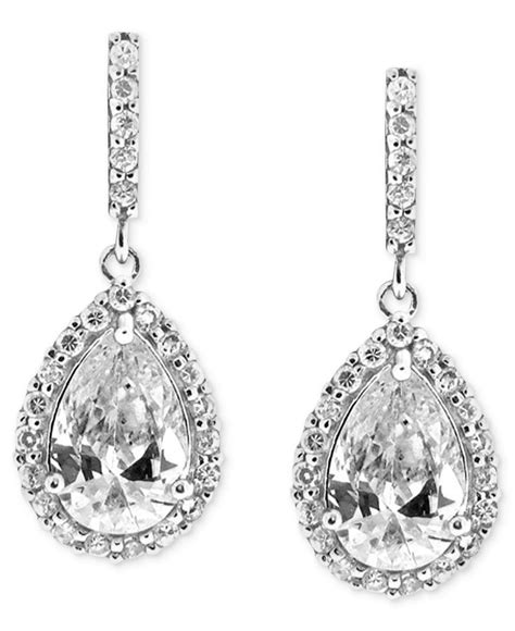 b brilliant sterling silver earrings cubic zirconia pave