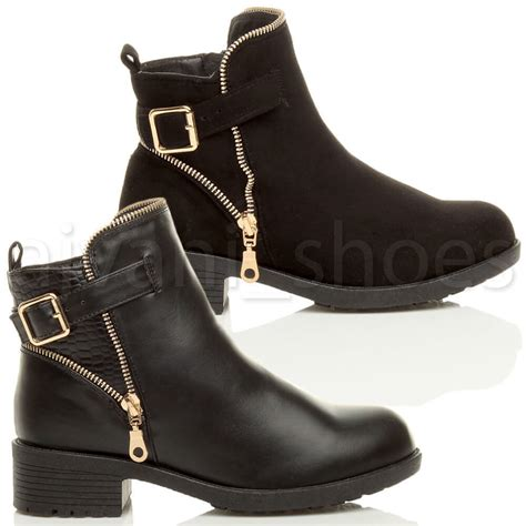 ladies ankle biker boots womens ladies chunky low heel buckle gold zip chelsea