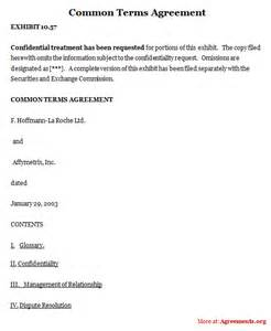 common terms agreement sample common terms agreement