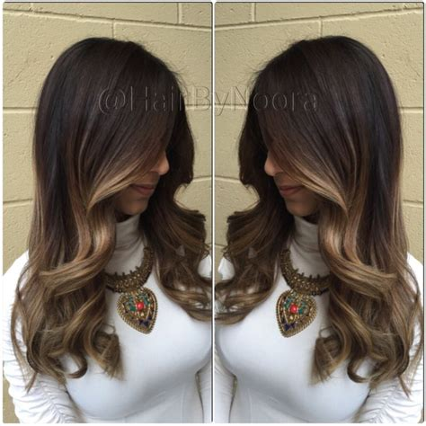 toffee hair color sombre balayage on brunette toffee blonde layer cut and