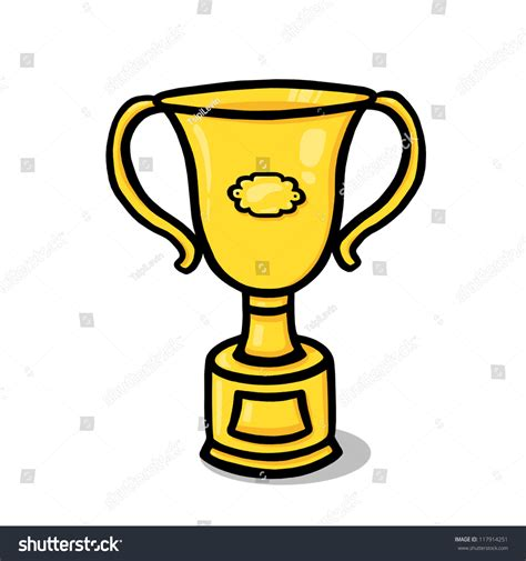 doodle trophies trophy illustration gold trophy cup drawing stock