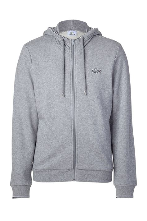 Hoodie Quicksilver Grey Grey01 lacoste light grey hoodie jacket in gray for grey lyst