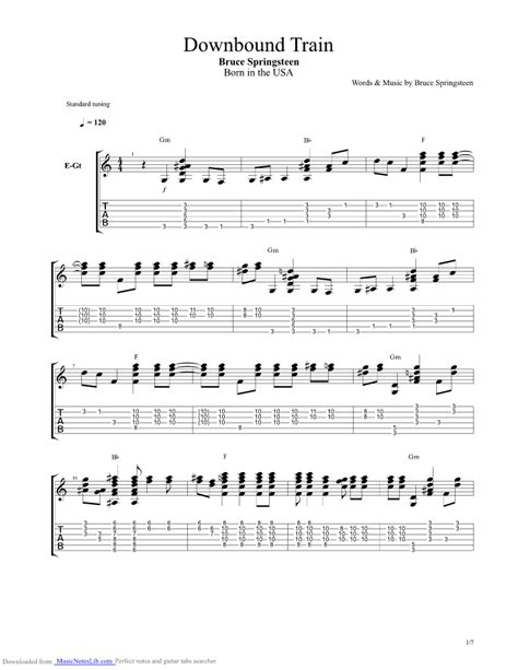 Downbound Train guitar pro tab by Bruce Springsteen