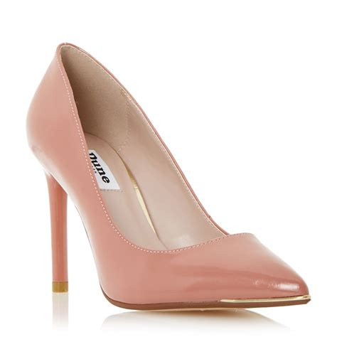 dune azaleah metal toe detail court shoes in pink lyst