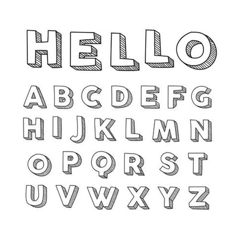3d fonts hand drawn download free vector art, stock