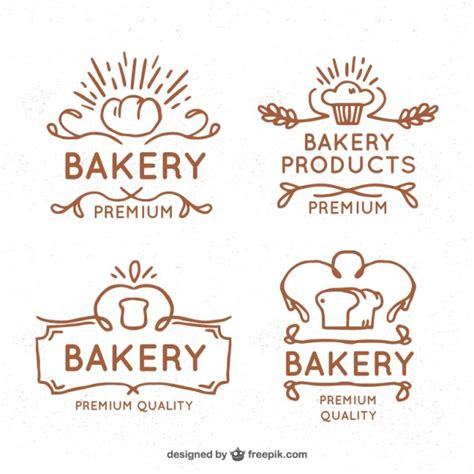 hand drawn vintage bakery logos vector free download
