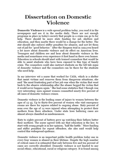 domestic violence dissertation dissertation on domestic violence docshare tips
