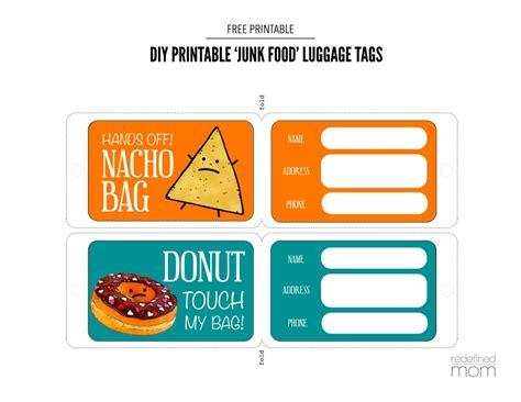printable mini luggage tags diy printable junk food luggage tags