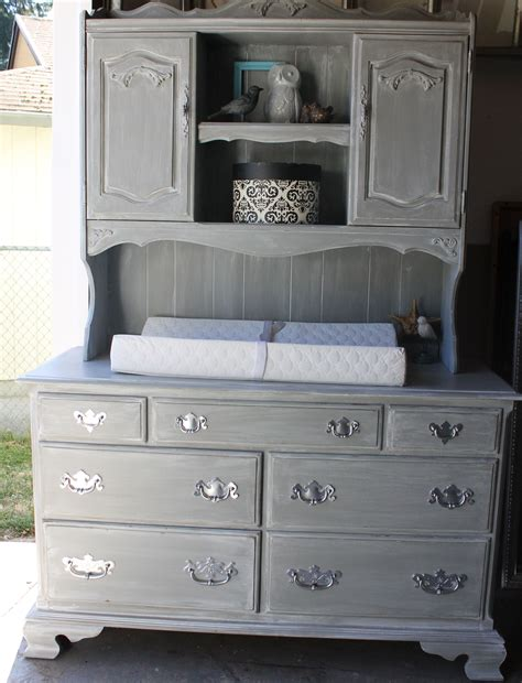 Changing Table With Hutch Vintage Ethan Allen Dresser Repurposed Into Weathered Cottage Gray Distressed Baby