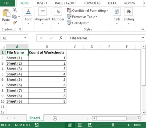 excel tutorial xlsm count worksheets in multiple files microsoft excel tips