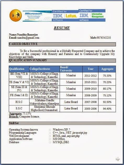 Professional Resume Format For Freshers   schedule