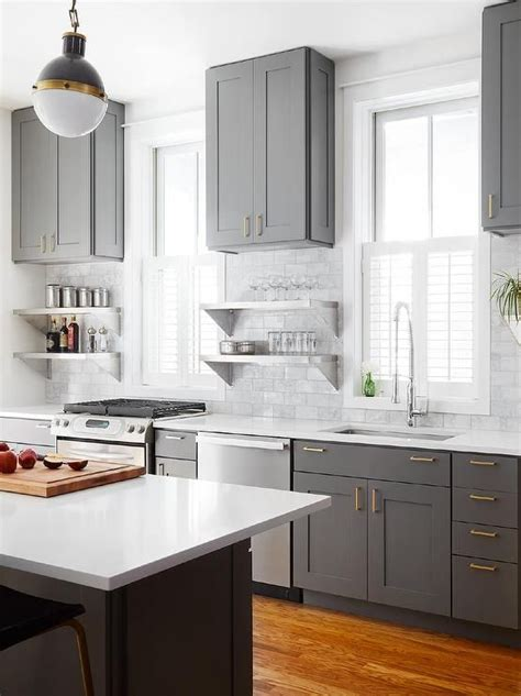 Charcoal Gray Kitchen Cabinets Stunning Charcoal Gray Kitchen Boasts A Gray Center Island Topped With A White Quartz Countertop