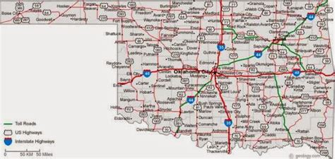 road map of oklahoma printable us state maps free printable maps