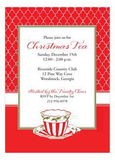 holiday tea party invitation christmas tea by