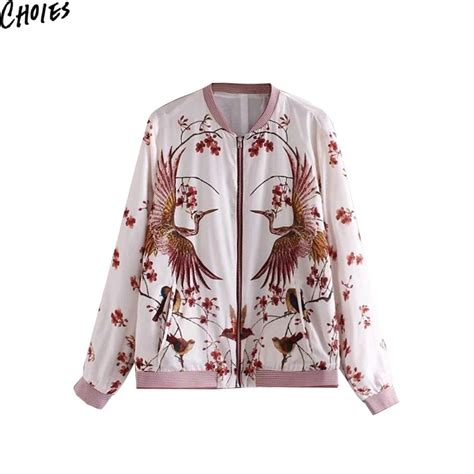 Jacket Bomber Aftersix Bird New 2 white birds and floral print sleeve zip front casual bomber jacket 2016 new autumn