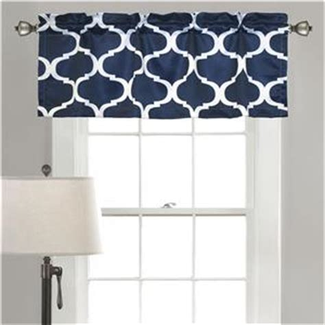 Navy Valances Window Treatments Modern Navy Blue Geometric Trellis Valance Window
