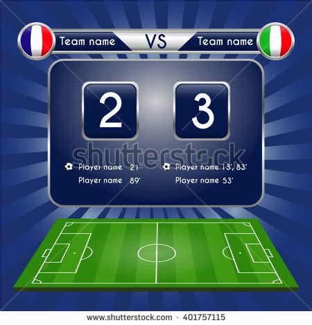 soccer result broadcast graphic football score football stock