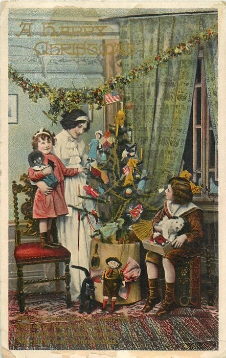 happy christmas mother small girl left girl standing  chair boy  sitting  box