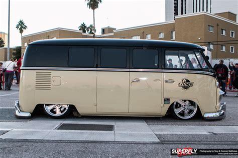 custom volkswagen bus sema show 2015 stone custom fab slammed volkswagen camper