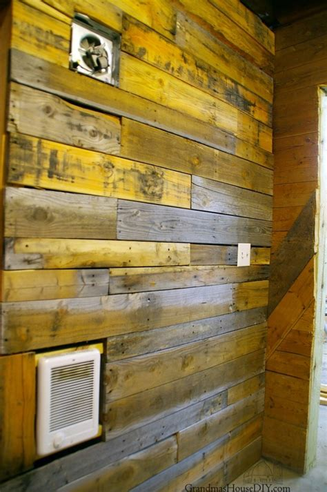 covering walls  pallet wood  basement bathroom