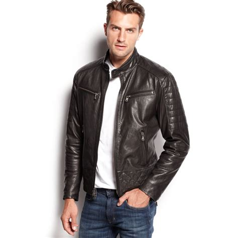 black leather jacket michael kors quilted washed leather jacket in black for lyst