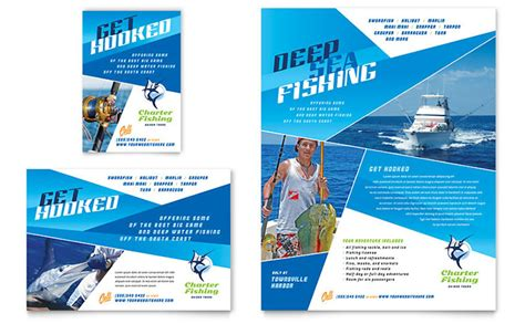 advertisements template fishing charter guide flyer ad template design