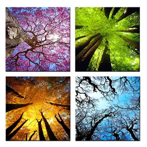 Painting 4 Seasons by 4 Panels Canvas Wall Summer Autumn Winter Four