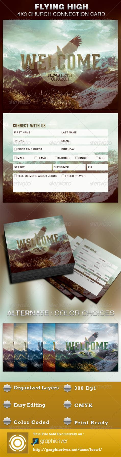 church connection card template vector flying high church connection card template graphicriver