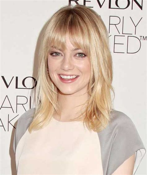 medium length brown hair with bangs and blonde highlights 25 short medium length haircuts short hairstyles 2017