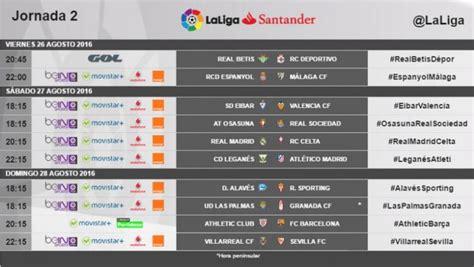 Calendario Liga Santander Horarios Horarios De La Segunda Jornada De La Liga Santander